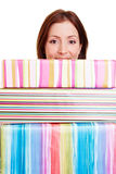 Woman with many gifts Royalty Free Stock Image