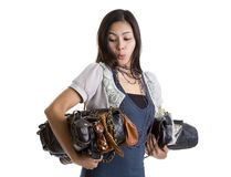 Woman with many a purses Royalty Free Stock Photography