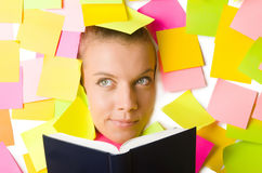 Woman with many reminder notes Royalty Free Stock Photography