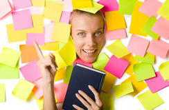 Woman with many reminder notes Royalty Free Stock Photos