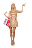 Woman many shopping bags after shopping isolated Royalty Free Stock Image
