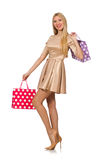 Woman many shopping bags after shopping Royalty Free Stock Images