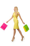 Woman with many shopping bags Stock Photos