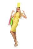 Woman with many shopping bags Royalty Free Stock Image