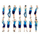 Woman in Many Situations Isolated Stock Photos