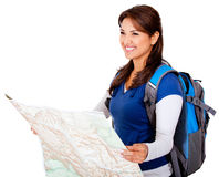 Woman with a map Royalty Free Stock Images
