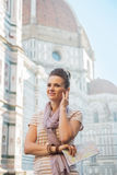 Woman with map and audio guide in florence, italy Royalty Free Stock Image