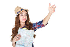 Woman  with the map Royalty Free Stock Photography