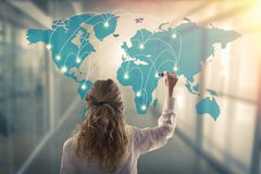Woman with the map of connections stock photo