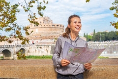 Woman with map examining attractions in Rome Stock Photos