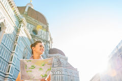 Woman with map in florence, italy Stock Photos