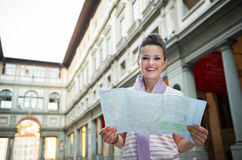 Woman with map near uffizi gallery in florence Royalty Free Stock Photo