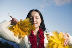 Woman with maple leaves Royalty Free Stock Image