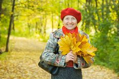 Woman with maple leaves in autumn park Stock Photos