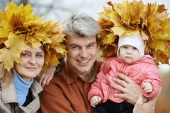 Woman with maple leaves at autumn Stock Photography