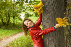 Woman with maple leaves in hands in wood in autu Royalty Free Stock Photography