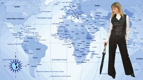 Woman and maps royalty free stock image
