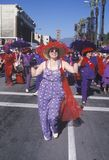 Woman marching in the Doo Dah Parade, Pasadena, California Royalty Free Stock Image
