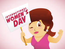 Woman Marching with a Women's Day Sign, Vector Illustration. Girl in pink dress marching and holding a Women's Day sign for gender equality Royalty Free Stock Images
