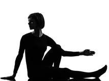 woman sarvangasana setu bandha bridge pose yoga stock
