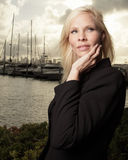 Woman by the marina Royalty Free Stock Images