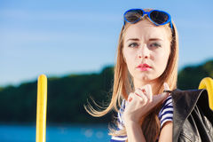 Woman in marina against yachts in port Stock Images