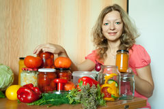 Woman marinating vegetables Stock Photography