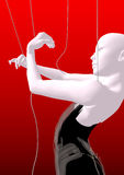 Woman marionette. A bald woman marionette with white skin and in a black dress, over a red background, 3D illustration, raster illustration Royalty Free Stock Images
