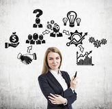Woman with a marker and business icons Royalty Free Stock Images