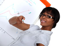 Woman with a marker. In front of a flip chart Stock Photo