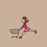 Woman market cart Stock Photos
