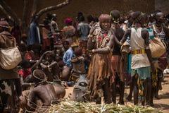 Woman at the market of Turmi, Ethiopia Stock Images