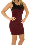 Woman in maroon dress body Stock Images