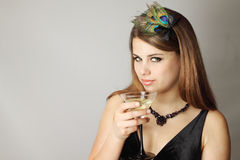 Woman with Martini Stock Image