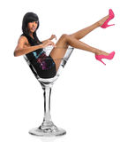 Woman In Martini Glass Stock Photo