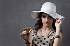 Woman with martini Stock Photography