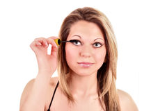 woman and mascara stock photo
