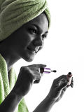 Woman and mascara brush silhouette Stock Photo