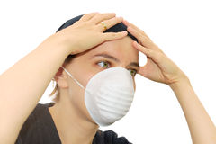 Woman with mask. Young woman wearing a protective face mask Royalty Free Stock Images