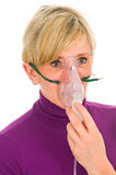 Woman with mask for aerosol Royalty Free Stock Photo