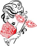 Woman with mask and flowers royalty free illustration