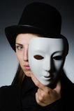 The woman with mask in funny concept Royalty Free Stock Image
