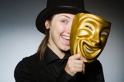The woman with mask in funny concept Royalty Free Stock Photography