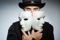 Woman with mask in funny concept Royalty Free Stock Photos