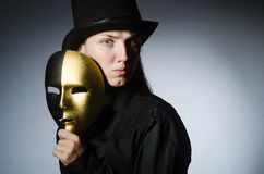 The woman with mask in funny concept Stock Image