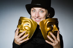 Woman with mask in funny concept Royalty Free Stock Photography