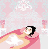 Woman with mask on his face relaxes in the spa. Salon,  illustration Royalty Free Stock Photography