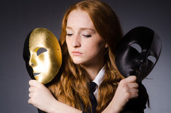 Woman with mask. In hypocrisy concept Stock Images