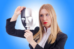 Woman with mask in hypocrisy Stock Photography