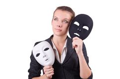 Woman with the mask in hypocrisy concept Stock Image